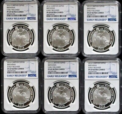 6-2016 Great Britain £2 1Oz Silver Proof Britannia-NGC PF69 Early Releases Spots