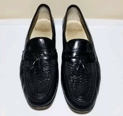 425c3f7cf1a ET Wright Mens Black 11.5 AA Leather Tassel Loafers Slip Dress Shoes Made  Italy