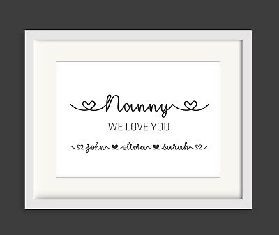 PERSONALISED PRINT Nanny Nana Grandchildrens Names Mum Mummy Birthday Gift
