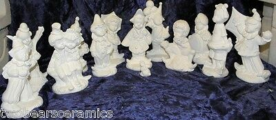 Ceramic Bisque Ready to Paint-collectable Set of 12  calendar Clowns