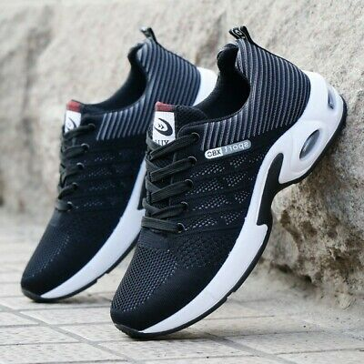 Black Mens Running Trainers Lace Up Sports Fitness Gym Air cushion Shoes