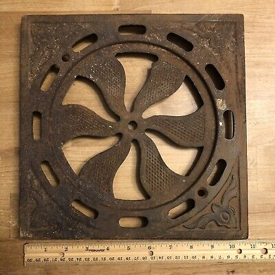 Antique Architectural Cast Iron Heating Grate Vent Register Pinwheel Old Part