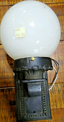 Vintage Cast Iron Wall Sconce With Globe - Fully Restored (6850-1)