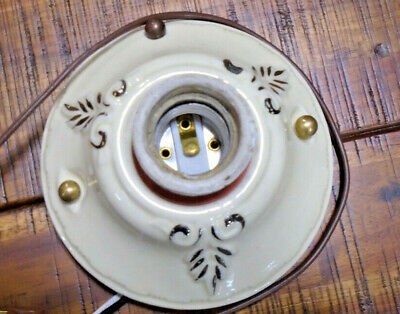 Vintage Painted Porcelain/Ceramic Ceiling Fixture - Nice Condition  ( 11678)
