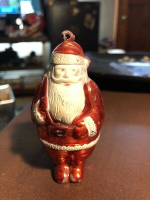 Vintage Hard Plastic Santa Claus Christmas Ornaments 3.5""