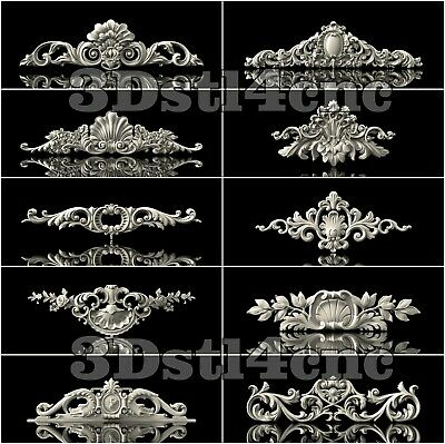 10 3D STL Models Decor Elements for CNC Router Carving Machine Artcam aspire
