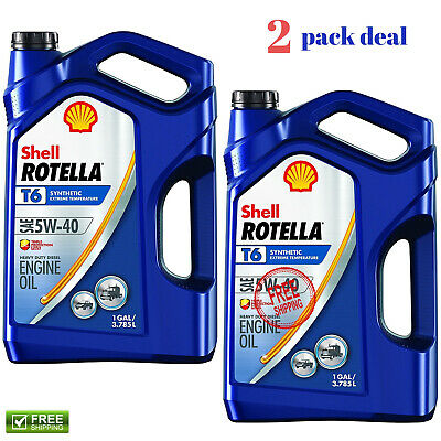 2 PACK Shell Rotella T6 5W-40 Full Synthetic Diesel Engine Oil 1 gal