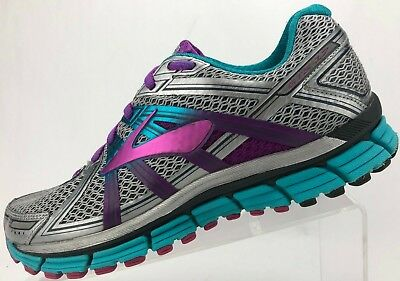 71e5e9e636c Brooks Adrenaline GTS 17 Road Running Shoes Gray Purple Training Womens  10.5M