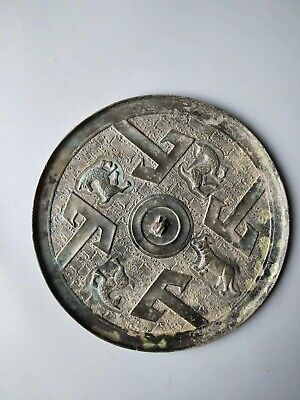 China Ancient Tang Dynasty Old Bronze Dressing Toll Four Beast Pattern Mirror