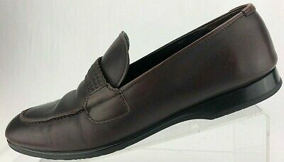 ec692291b09 Tommy Bahama Loafers Slip On Brown Split Toe Casual Leather Penny Shoe Mens  9.5M