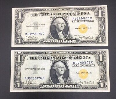 Consecutive Set 1935 One Dollar Gold Seal Silver Certificates Uncirculated
