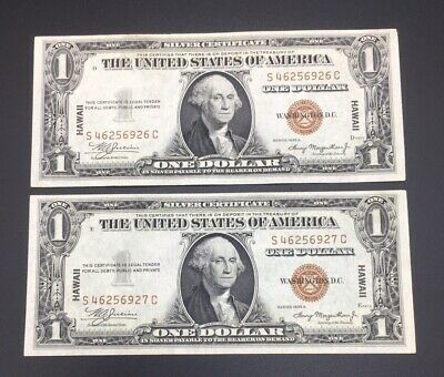 Consecutive Set 1935 One Dollar Hawaii  Silver Certificates Uncirculated