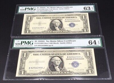 Consecutive 1935 ($1) No Motto Silver Certificates Run 3( Bj ) Block Pmg Graded