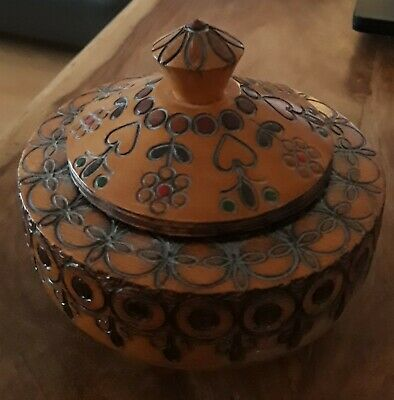 Vintage Hand Carved Wooden Lidded Pot 4 inches x 4 inches.