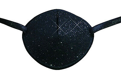 Eye Patch, Black with Gold and Sparkle Soft  Washable for Left or Right Eye