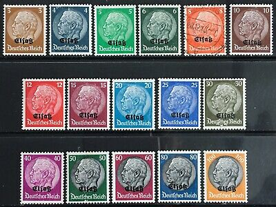 Germany 1940 Occupied Elsass (Alsace) O/P on Hindenberg issues MNH/MLH + 1 used