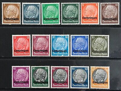 Germany 1940 Occupied Lothringen (Lorraine) O/P on Hindenberg issues MNH/MLH