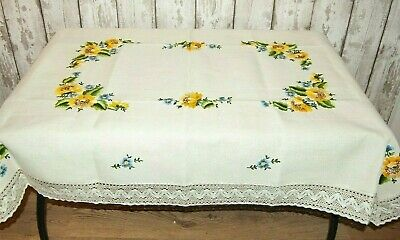 Amazing Large Tablecloth Sunflowers Embroidered Cotton Crochet Lace Linen Blend