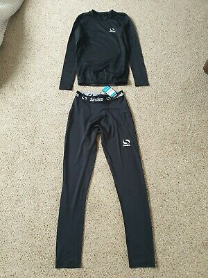 Girls 13 years Sondico black sports, gym, running PE top and new black trousers