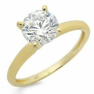 1.5 Ct Round Cut Solitaire Engagement Promise Ring Real Solid 14K Yellow Gold