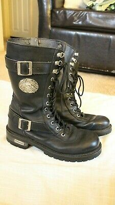 3ec3bc73a Xelement Motorcycle Mens Goth Punk Boots Size 9 Black Leather 20 Eye Side  Zip