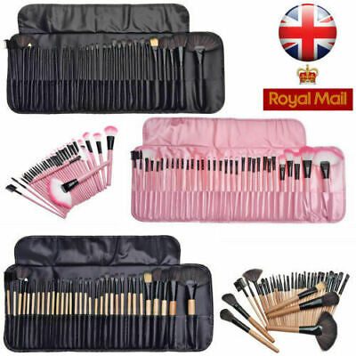 Professional 32 Pcs Kabuki Make Up Brush Set and Cosmetic Brushes Case Black