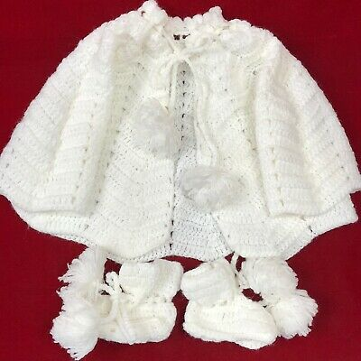 Beautiful Vintage White Crocheted Baby Sacque & Booties Set with Pom Pom Ties