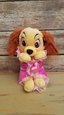 Disney Babies Lady And The Tramp Dog Plush Animal Pink Blanket Disney Parks 12""