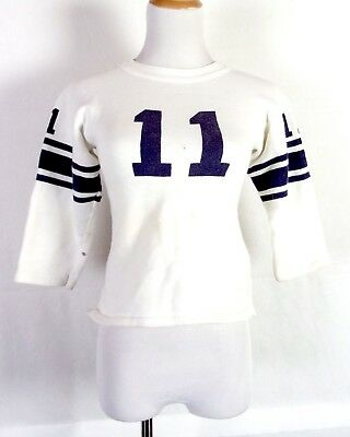 vtg 50s Water Print Striped Numbered Football Jersey Sweatshirt Youth Size