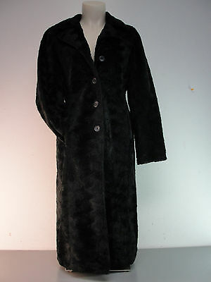 c3cebca34f5 Crushed Faux Fur Coat Full Length Black Purple Satin Lining Womens Small  Vintage