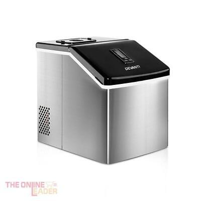 DEVANTi Portable Stainless Steel Ice Cube Machine - 3.2Litre, Home or Commercial