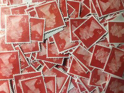 100 x 1st Class Security Stamps Unfranked OFF PAPER lot 1