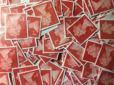 100 x 1st Class Security Stamps Unfranked OFF PAPER lot 8