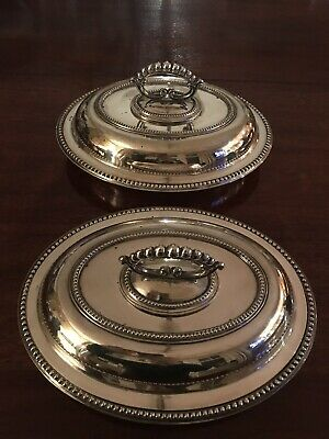 Pair Of Good Vintage Oval Silver Plated Serving Dishes Tureen With Lid