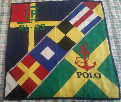 Vintage Prl Polo Ralph Lauren Cp-93 Silk Scarf Rlyc Crest Flag Sailing Yacht Ski