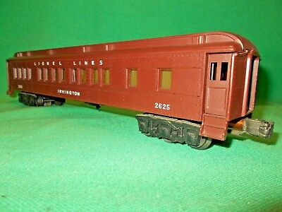 LIONEL O Gauge # 2625 Heavy Weight Car IRVINGTON Circa 1946 with Lights Gauge 0