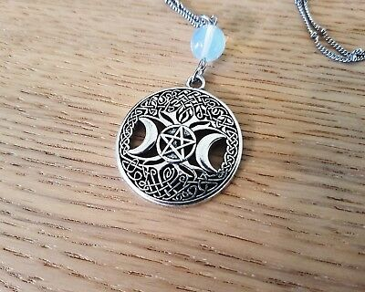 Triple Moon Goddess Pentacle Celtic Knot Necklace silver wicca witchcraft