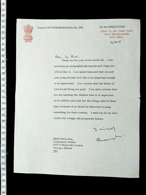 GENERAL KUMARAMANGALAM autograph letter signed LAST KCIO ARMY CHIEF INDIA GANDHI