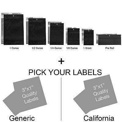 100 - Matte Black/Clear Mylar Smell Proof Storage Bags w/ Rx Labels Stickers