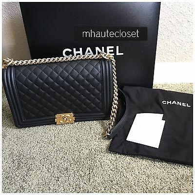 0b76aaced31982 Auth New 2015 Chanel Handbag Bag Boy Old Large Black Gold Hardware Receipt  15C