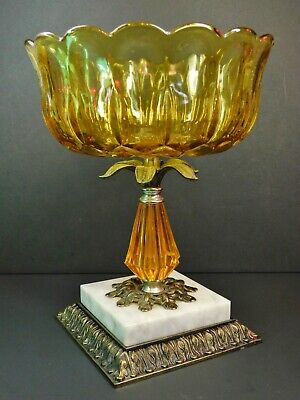 Vintage Hollywood Regency Amber Glass and Metal Compote Candy Dish