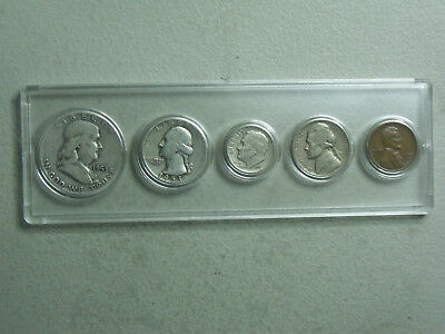 1953 Birth Year set 5 coins,w/ Silver Half,Quarter,and Dime in plastic holder