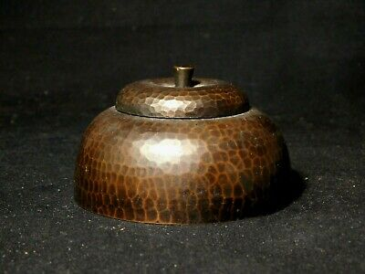 Roycroft Hammered Copper Inkwell w Glass Insert Arts & Crafts