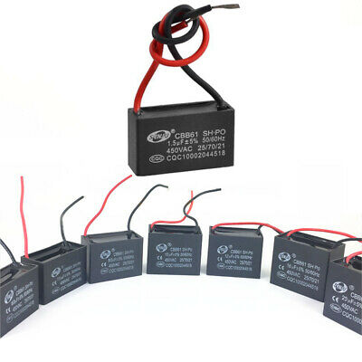 CBB61 Complete 1-20uF AC 450V 2-wire Terminal Ceiling Fan Motor Run Capacitor UK
