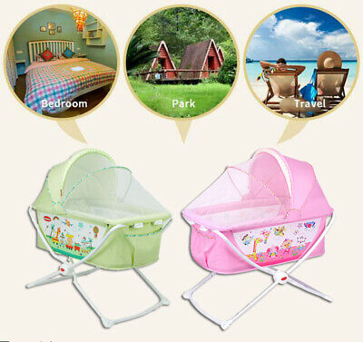 Baby Infant Newborn Portable Foldable Travel Cot Carry Sleep Bed Bassinet Crib