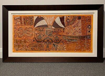 Vintage Indian Tapestry Framed Wall Art Handmade Embroidered Beaded