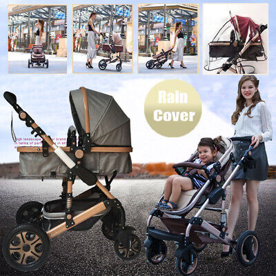 Baby Toddler Reversible Pram & Bassinet 4 Wheel Stroller Foldable Pushchair