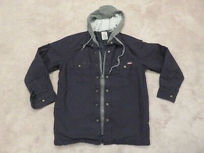 fbee114e Used DICKIES Quilt Lined HOODIE/JACKET Mens SMALL Black Grey Work Wear  Canvas SM