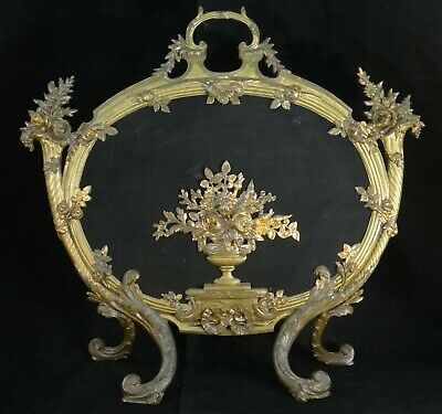 """Antique French Louis XV Gilt & bronze painted oval Fire Screen. 28"""" t, 30"""" w."""