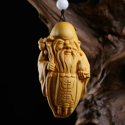 China Exquisite Boxwood Hand Engraving Antarctic the god of longevity  Statue